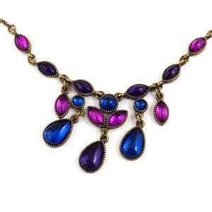 VINTAGE Avon SAQ Necklace Jewel Tone Teardrop Bib